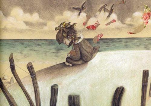 tyttö istuu yksin rannalla