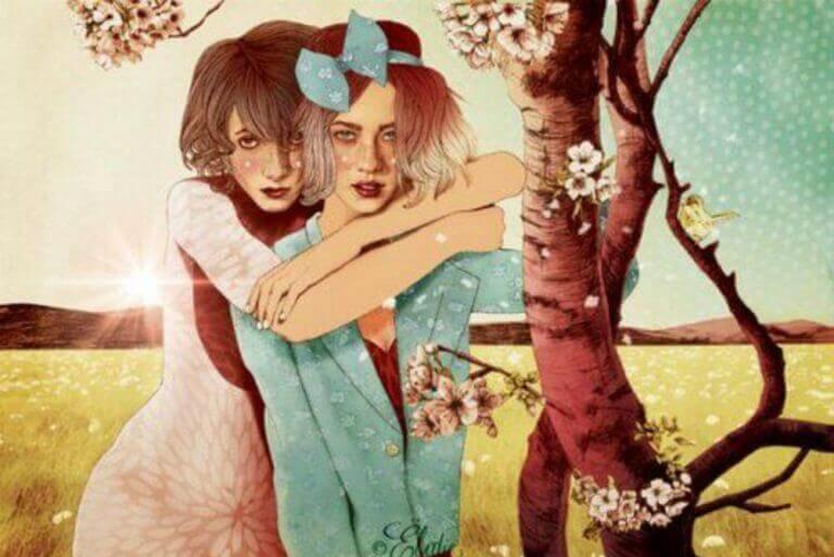 kaksi tyttöä puun alla