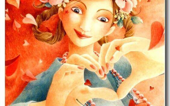 nainen muodostaa käsillään sydämen