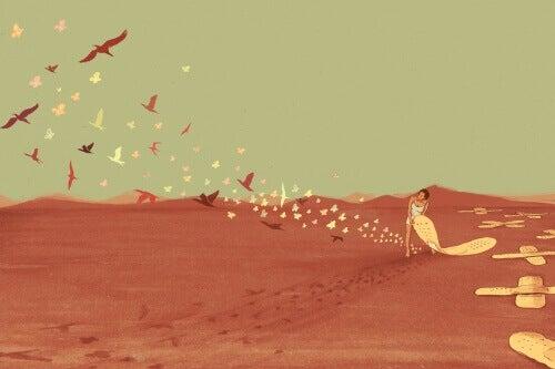 laastarin alta lentää lintuja