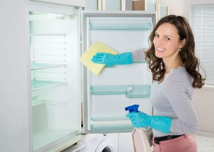 nainen on valmistanut parasta siivousainetta ja siivoaa nyt jääkaappia