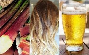 hiusten vaalentaminen oluella ja raparperilla
