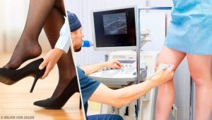 lääkäri tutkii naisen jalkoja