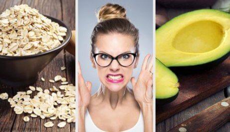 ahdistusta lievittäviä ruokia: kaura ja avokado