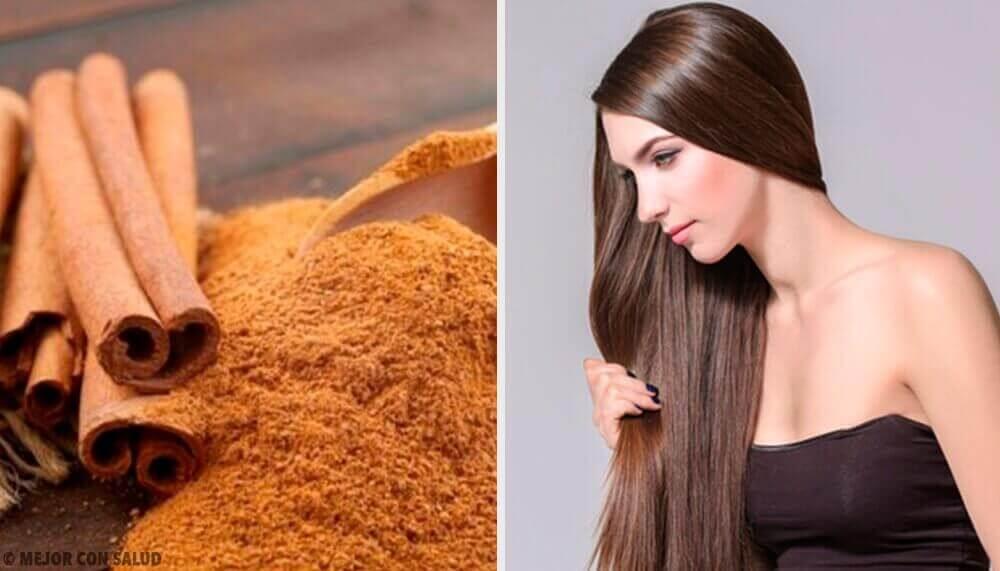 nainen on käyttänyt hiusnaamiota kanelista