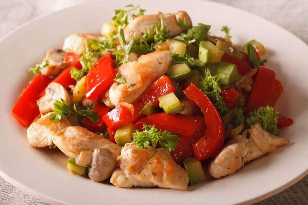 kanaa ja vihanneksia