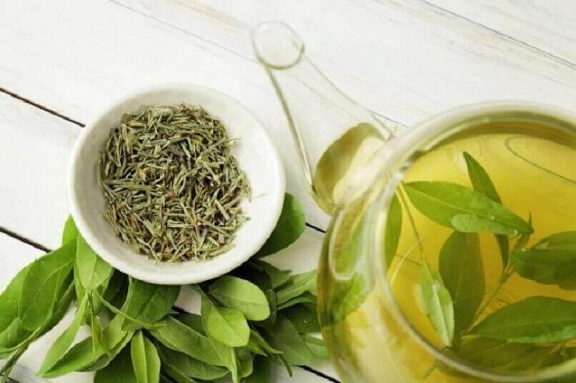vihreää teetä kannussa