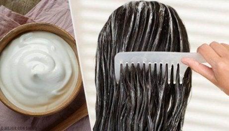 hiusnaamiolla tuuheat hiukset takaisin
