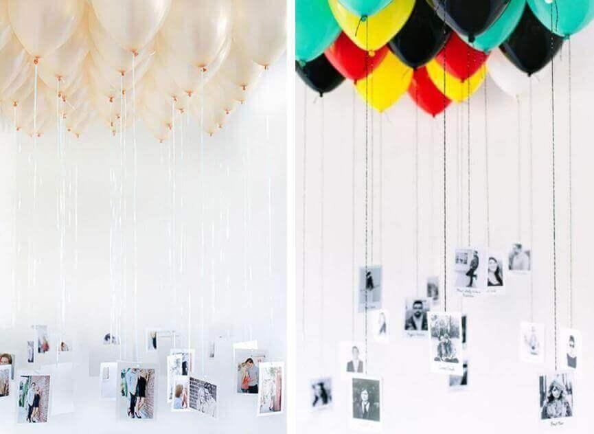 voit koristella ilmapalloilla ja valokuvilla