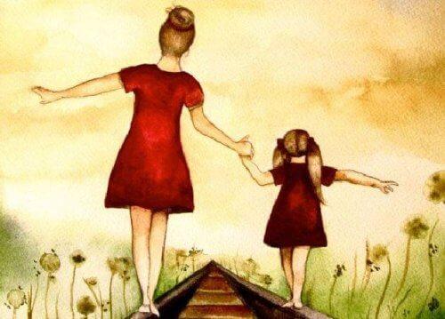 äiti ja tytär rautatiellä