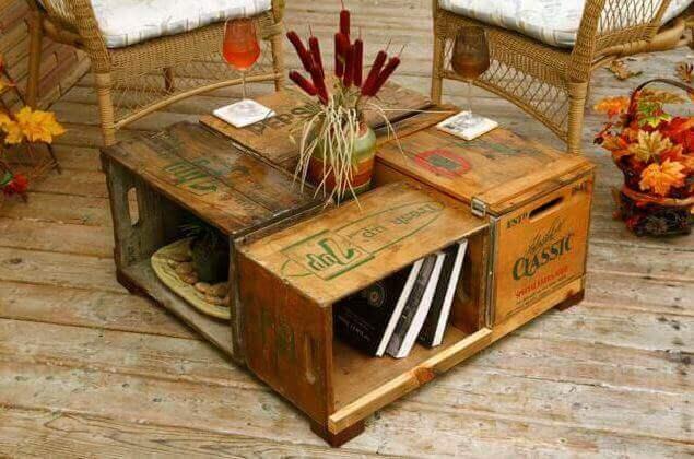 kahvipöytä puulaatikoista