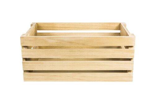 säilytysjärjestelmä puulaatikoista