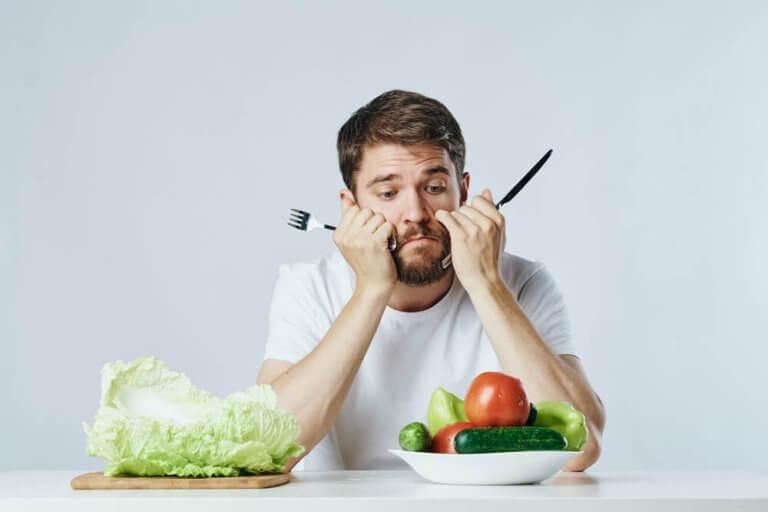 mies syö vain vihanneksia