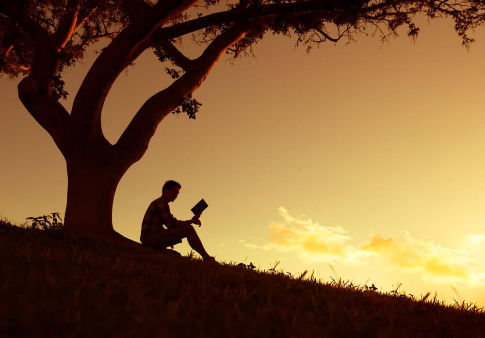 mies lukee kirjaa puun alla