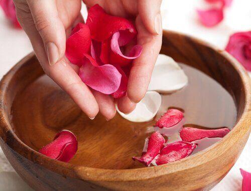 luonnolliset kasvovedet: ruusun terälehdet