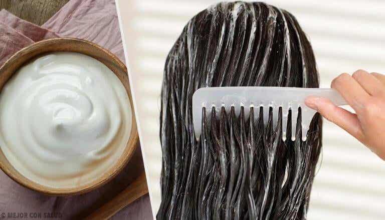 Kauniit hiukset majoneesinaamioilla