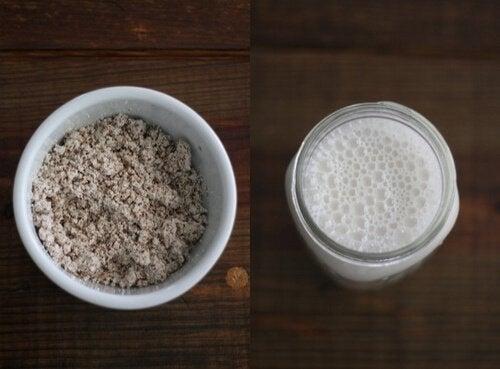 Valkoinen smoothie kookoksesta ja manteleista