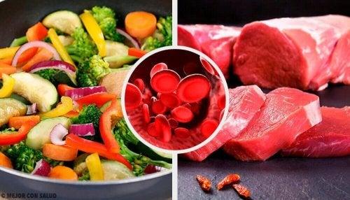 Ruokia hemoglobiinin nostamiseksi