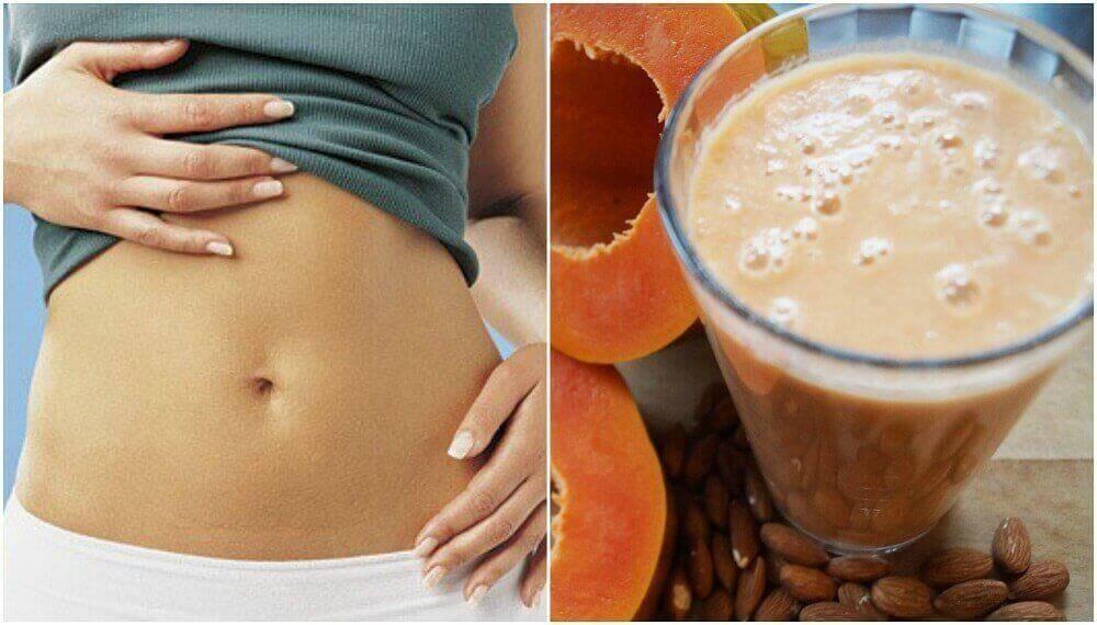 Paranna ruoansulatusta mantelimaito-papaijasmoothiella