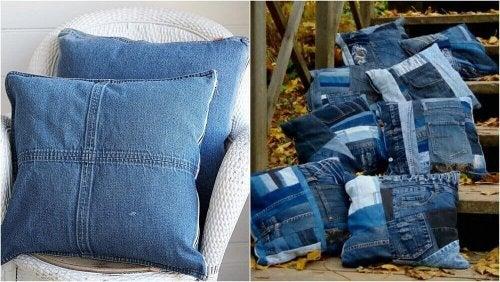 Vanhan farkkukankaan voi hyödyntää myös uusien tyynyjen tekemiseen