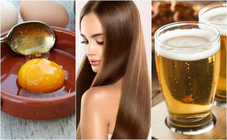 Hiuksia silottava hoito oluesta ja kananmunasta