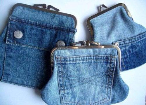 Vanhat farkut voi uudelleenkäyttää myös hauskojen lompakoiden valmistamiseen