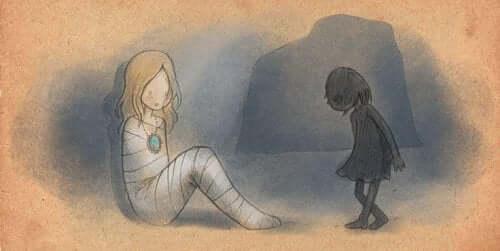 muumioäiti ja pieni tyttö