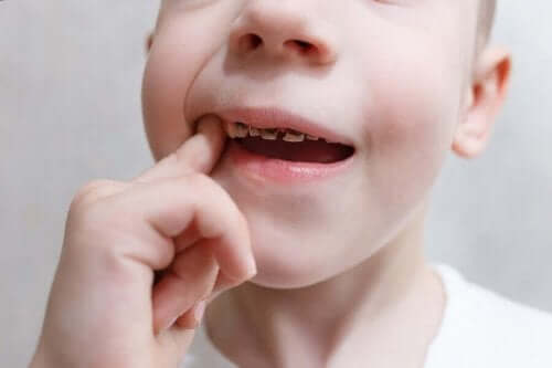 Poika tökkii hampaitaan.